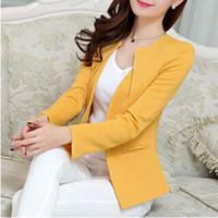 ingrosso giacca gialla delle signore-Plus Size Donna Blazer e giacche Donna 2015 Primavera Autunno Moda Slim Giallo Nero Bianco Donna Blaser Terno Feminino, T5000