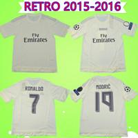 15 16 futbol gömlekleri toptan satış-2015 2016 RONALDO real madrid futbol formaları Retro BENZEMA futbol forması 15 16 JAMES Vintage Camiseta de fútbol PEPE Sergio Ramos Maillot