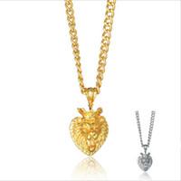ingrosso collana della catena di modo della testa del leone-Moda Uomo Donna Hip Hop Lega Oro Argento Corona Testa di leone Collana pendente Gioielli regali
