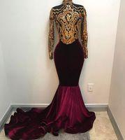 velvet long sleeve high neck großhandel-Echt Fotos 2019 African Gold und Burgund Meerjungfrau Prom Kleider High Neck Long Sleeves Samt Abendkleid