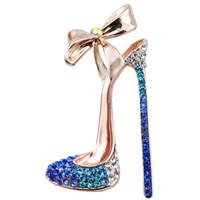 broche del collar de las mujeres al por mayor-Romantic Purple Blue Crystal Zapatos de tacón alto Broches para las mujeres Joyería del banquete de boda Camisa de vestir Collar Vintage Pins