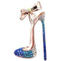ayakkabı için broşlar toptan satış-Romantik Mor Mavi Kristal Yüksek topuklu Ayakkabı Kadınlar için Broşlar Düğün Takı Elbise Gömlek Yaka Vintage Pins