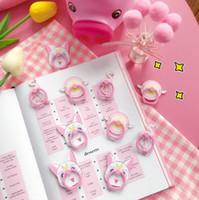 rosa handys großhandel-Flamingo-Handyhalterung Luna-Katze Sakura-Zauberstab-Ringschnalle ipad-Halterung japanisches rosafarbenes Mädchenherz kreative Art und Weise