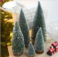 pequenas decorações de árvore de natal venda por atacado-Árvore de Natal Mini Pine Needle Reunindo Árvore Dip White Cedar desktop Natal de mesa pequeno Decoração de Natal