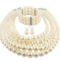 ingrosso collana della perla del branello-Multi strato Simulato Perla Strand Jewelry Set di gioielli Donna Ladies Fashion Jewelry lungo acrilico Beads multi strato collana e orecchini