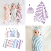 bebek yorgun toptan satış-Yenidoğan bebek pamuk çizgili battaniye Yürüyor Sleepsacks Sarılmış Havlu bebek tutan battaniye düğümlü lastik kap bebek Kreş Yatak M095