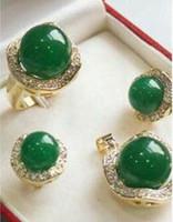 Wholesale natural gem jewellery resale online - Prett Lovely Women s Wedding MM Natural green gem Silver Pendant Earring Ring Jewellery set silver jewelry