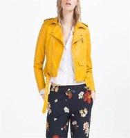 veste en cuir jaune dames achat en gros de-Jaune S-XXXL Russe Fashion Lady Pu En Cuir Veste Manteaux Street Mode Exercice Vestes Manteau Beau Persona PU Veste Manteaux