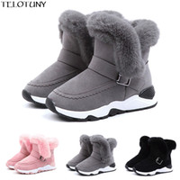 Wholesale red boots for baby girl for sale - Group buy Winter Baby Winter Kids Baby Infant Boys Girls Child Fur Flock Bootie Warm Snow Shoes Boots Shoes For Girls Boys YE11