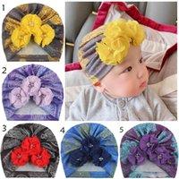 Wholesale newborn beanie flower resale online - INS Newborn Baby Hats Flower Tie Hedging Caps Infant Girls India Hats Boy Autumn Winter Beanie Caps