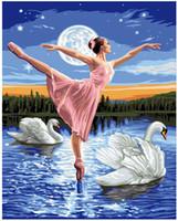 pintura al óleo bailarina al por mayor-Adulto Pintado A Mano Pintura Bricolaje Por Números Kits de Pintura Al Óleo Paint-Swan Lake Dancing Girl 16