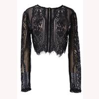 blusa de tops de renda preta venda por atacado-Primavera Negra Verão Lace Mulheres Tops Out oco shirt de manga comprida Blusa Sexy Lady Lady Escritório