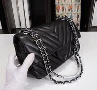 Wholesale wax oiled handbags resale online - Luxury Women Top Quality V Wave Pattern Flap Chain Bag Oil Wax Real Leather Shoulder Handbag Designer Bags Crossbody Purse Messenger bag