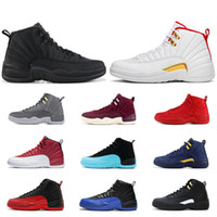 Wholesale purple basketball sneakers for men resale online - 12 s Basketball shoes for mens Game Royal red triple black Flu game University blue the master CNY men Sports Sneakers size