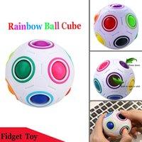 ingrosso novelli cervelloni-Rainbow Fidget Ball Sfidante Puzzle Giocattoli palla Puzzle Fun Sphere Speed Cube EDC Novità Fidget Football Brain Teasers Giocattoli educativi