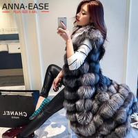 2018 Women's Faux Fur Vest Lengthen Women Silver Fur Vest X-Long Artificial Jacket Plus Size Coat Winter Women