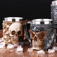 нержавеющий дракон оптовых-Stainless Steel Resin Retro Dragon Beer Mug Skull Knight Tankard Halloween Coffee Cup Lifelike Viking Mug Pub Bar Decoration