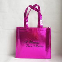 металлические сумки оптовых-500pcs/lot Reusable Rose Metallic PP Packaging Shopping Tote Bags with Your Custom  Logo Printed for Trade Show and Advs