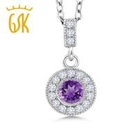пурпурные бриллиантовые подвески оптовых-GemStoneKing 1.26 Ct Round Purple Amethyst G/H Lab Grown Diamond 925 Sterling Silver Pendant For Women Fine Jewelry