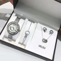 caixa de carros venda por atacado-Marca de Luxo Carro Relógios Senhora de Prata Relógios De Aço Inoxidável Diamante Relógio de Pulso Womens Pulseira Anel Brinco Colar 5 conjuntos em 1 com caixa