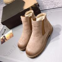 botlar kürk kalın topuk toptan satış-Ug Marka Vintage Kadınlar Boots Kar Ayakkabı Yıldız Stili deri Sıcak Yün Kürk Boots Kadın Kalın Topuk Klasik Avustralya Martin Boots C101401