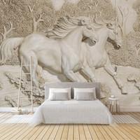 dekorasyon beyaz at toptan satış-Özel Herhangi Boyut Duvar Duvar Kağıdı 3D Kabartmalı White Horse Wallpaper Salon Yatak odası Koltuk TV Ana Dekorasyon Arkaplan Duvar