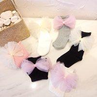 süße babykleidung großhandel-Süße 100% Baumwollsocken für 1-3 Y Baby Niedlichen Garn Bogen Schuhe Mädchen Schöne Socken Neugeborenen Kleinkinder Weiche Tragen Zubehör