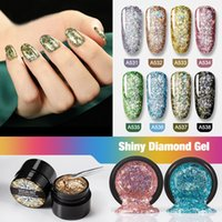 prego brilhante design venda por atacado-Diamante brilhante Gel 5ml Nail Polish Glitter Pintura Nail Art design Poly UV Top Base de Primer prego Glue 070307
