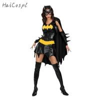 weibliche maskierungsanzüge großhandel-Maske Halloween Batman Kostüm Erwachsene Frauen Setin Kleid mit Umhang Maske für Scary Party Female Suit