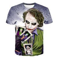 shorts joker venda por atacado-Mens Designer Camisetas Moda 3D Impresso Manga Curta Tees Mens Coringa O-pescoço Tops Roupas Masculinas de Verão
