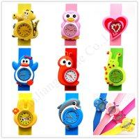 bofetadas para niños al por mayor-Animal de la historieta 3D niños relojes de la palmada niños del reloj de la palmada del reloj de las muchachas del muchacho de pulsera pulsera de silicona reloj deportivo regalos lindos E1803