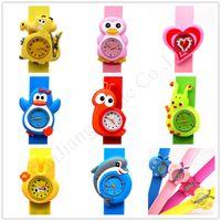 klapsuhren für kinder groihandel-Kinder 3D-Cartoon-Tier Slap Uhren Kind-Uhr-Klaps-Uhr-Jungen-Mädchen-Armbanduhr-Silikon-Armband Cute Geschenke Sport-Uhr-E1803