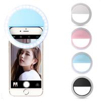 lentes de flash al por mayor-Teléfono móvil Selfie LLEVÓ la luz de destello del anillo Teléfono portátil Lámpara de Selfie Luminoso Clip de la lámpara de la cámara Fotografía Video proyector lente RRA900