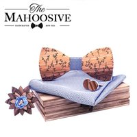 Wholesale men ties handkerchiefs resale online - Fashion Men Wooden bow tie set Handkerchief Cufflinks wood bowtie wedding brooch tie Wooden Ties Gravata set wedding
