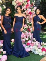 такое же цветное платье оптовых-Платья Невесты Же Цвет Другой Стиль Темно-Синий Милая Труба Рукавов Аппликация Кружева Длинные Платья Невесты