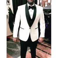 черные мужские костюмы слоновая кость оптовых-Ivory Wedding Groom men suit 2019 Black Shawl Lapel Mens Suits Three Pieces Custom Made man terno masculino (Jacket+Vest+Pants)
