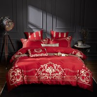 Wholesale purple egyptian cotton bedding for sale - Group buy Luxury S Egyptian Cotton Royal Embroidery Palace Bedding Set Red Green White Blue Duvet Cover Bed sheet Linen Pillowcases