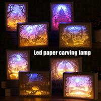 Wholesale bedside bedroom lights resale online - Art Decoration D Paper Carving Light Lamp LED Gift for Home Bedroom Bedside