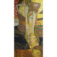 климт картины оптовых-Картины Густава Климта ручной работы Водяные Змеи Обнаженная красивая Женщина искусство Репродукция Холст для декора стен Высокое качество
