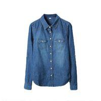 ingrosso jeans camicie lunghe stile di moda-Plus Size Vetement Fashion Style Abbigliamento donna Camicetta maniche lunghe Camicia casual denim Camicia vintage jeans Nostalgic Camisa J190618