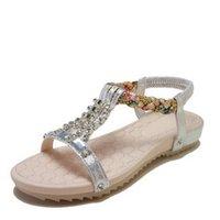 босоножки в стиле римского стиля оптовых-модные сандалии Simple New style сандалии летом 2019 года модные бриллиантовые плоские каблуки женские туфли чешские римские туфли с открытым носком