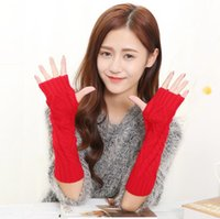 Wholesale long sleeve mittens resale online - Women Knitted Arm Sleeve Multi Colors Fashion Lady Mittens Keep Warm knit Gloves For Autumn Winter Top Quality long acrylic gloves