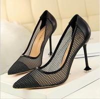 ingrosso notte nera del partito di vestito da notte della donna nera-Womens Sexy Night Club Sandali da sposa per feste Designer di moda scarpe a punta nero bianco 9.5cm rosa tacchi alti da donna scarpe da banchetto