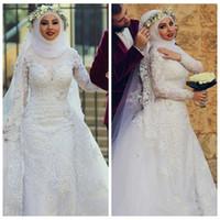 islamische kleider hijab großhandel-2019 Arabisch Muslim Long Sleeves Spitze Mantel Brautkleider Islamische Hijab Brautkleider High Neck Applique Brautkleider Mit Langen Zug