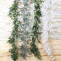 künstliche grüne hängende blumenreben großhandel-Startseite Hochzeitsdekor Hängen Blumen Rattan Künstliche Ivy Leaf Garland Immergrüne Weinpflanzen Gefälschte Grünpflanzen Rattan 1.65M DH0916