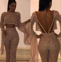 Wholesale ruffle sleeves top dresses online - 2019 Fake Two Pieces Long Sleeves Sequins Prom Dresses Sparkling Tops and Pants Long Vestidos de Festa Party Evening Gowns BC0240