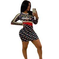 ropa de mujer remache al por mayor-F Letras Imprimir Vestido de Manga Larga Flaco Falda Corta Mujeres Cuello Redondo Vestidos de Rayas Club de Verano Fiesta de Playa Camisas Ropa C43006