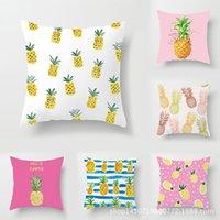 ev dekor ananas toptan satış-2019 Karikatür Ananas Moda Yastık Kılıfı Ofis Kare Yastık Baskı Yaz Taze Yastık Örtüsü Ev Dekor