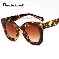 leopard eyewear großhandel-Markendesigner-Frauen-Quadrat-Retro- Mann-Sonnenbrille-Art- und Weiseüberlagerte Dame Leopard Frame New Eyewear G204