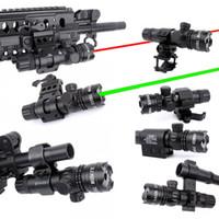 laser de ponto vermelho montado no trilho venda por atacado-WIPSON New Tactical Fora Cree Verde Red Dot Mira A Laser Interruptor Ajustável Rifle Scope Com Rail Mount Para Gun Caça